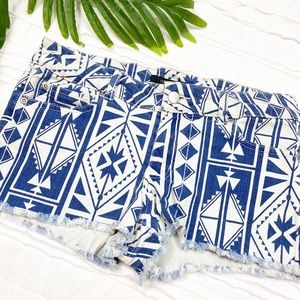 Aztec Printed Blue & White Denim Frayed Hem Shorts